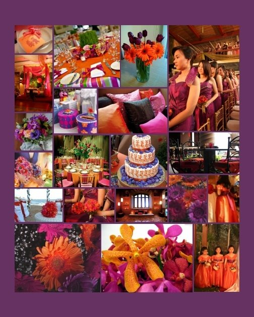 So now our colours are purple and orange or in weddingspeak mulberry and