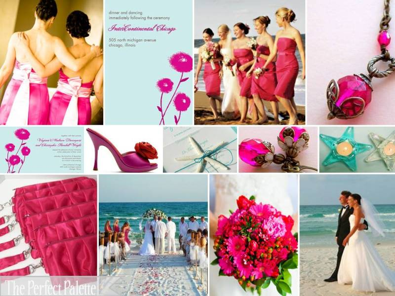 For brides who like BOLD colours Teal and Fuschia